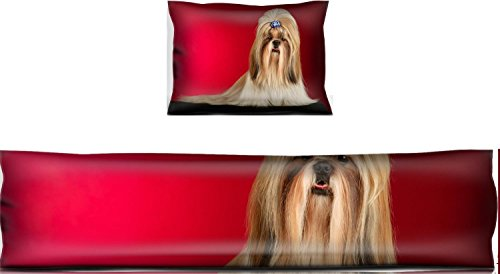 Liili Mouse Wrist Rest and Keyboard Pad Set, 2pc Wrist Support Shih Tzu dog with blue hairpin Shot full face in studio on wine red background IMAGE ID 12214144