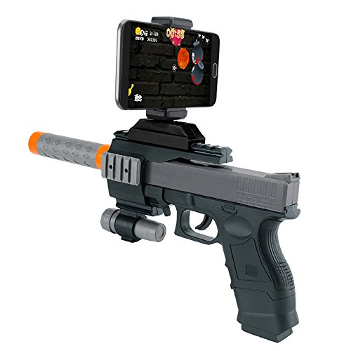 Merkmak AR Gun Games Bluetooth Plastic Toys with Phone Holder for Iphone Android Smart Phone(Grey)