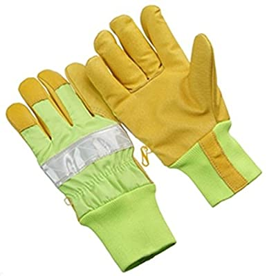 Seattle Glove 9-GHV64KW Insulated Grain Pigskin Gloves, Knit Wrist, 3M Reflective Tape, Hi-Viz Yellow, 12 Pair, Size: Large
