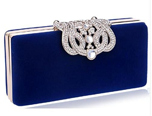 Small Wedding Color Party Evening Ym1010blue Dinner Mixed Velvet Bags Clutch Candy Bag dOHUdw