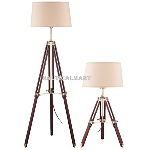 Tripod Adjustable Lamp Set Floor Lamp And Table Lamp Classic Home Lamps  With Wooden Stand(