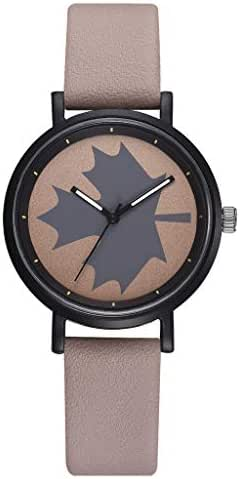 Ultramall BC96 Fashion Simple and Simple Leisure Maple Leaf Scale Leather Strap Ladies Watch
