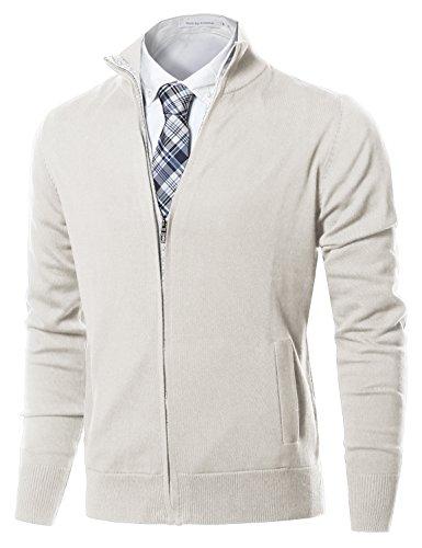 Cardigan Off White Sweater (Classic Full Zip Up Mock Neck Basic Sweater Cardigan Top Cream Size L)