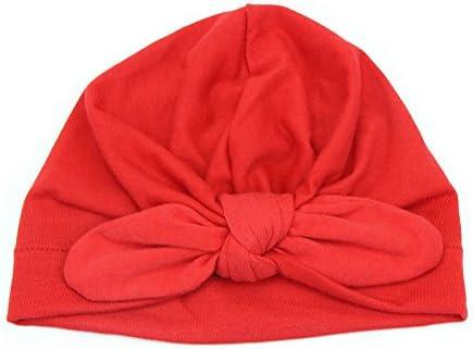 ベビーハット,Dabixx 生まれたばかりの赤ちゃん幼児キッズボーイガールちょう結びかわいいソフトコットンビーニーハット暖かい帽子 - 赤