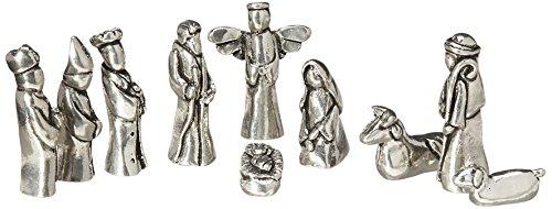 (Nativity Set Mini Pewter Figurine 10 pc Set w/ Velvet)