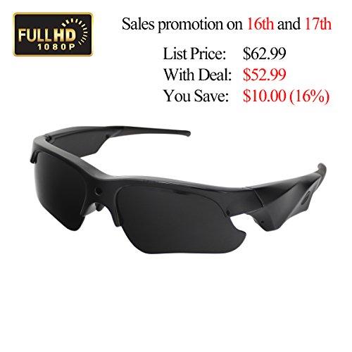 Sunglasses Camera, KAMRE Full HD 1080P Mini Video Camera with UV Protection Polarized Lens, A Perfect Gift