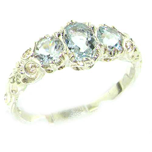 925 Sterling Silver Real Genuine Aquamarine Womens Trilogy Engagement Ring - Size -