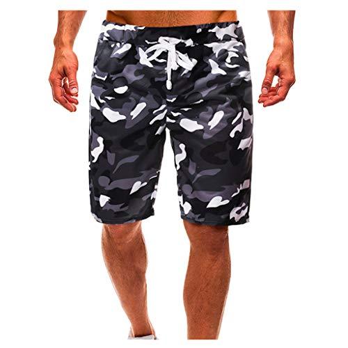 Shorts for Men F_Gotal Men's Casual Camouflage Drawstring Elastic Waist Sports Pants Training Jogger Shorts Sweatpants