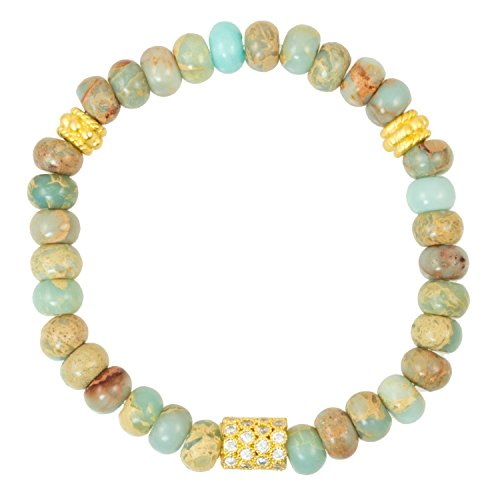 Snakeskin Impression Jasper with Gold Plated Vermeil Cubic Zirconia Barrel Bead - Stretch Bracelet