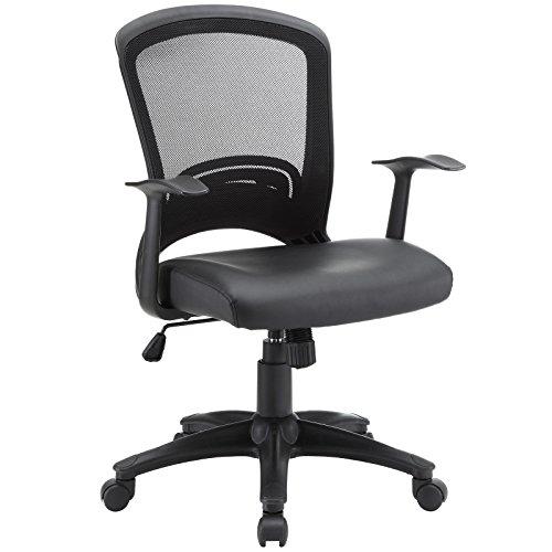 Modway Pulse Mesh Office Chair with Adjustable Black Vinyl (Black Vinyl Seat)