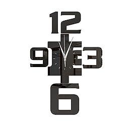 Original DIY Wall Clock Arabic Numerals 3d Silent Acrylic Mirror Wall Stickers Contemporary Modern Style Personality Decorative (black)