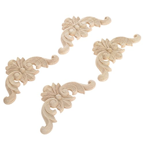"4pcs 8x8cm/3.15""x3.15"" European Style Classic Wooden Carved Corner Onlay Applique Furniture Home Decor"