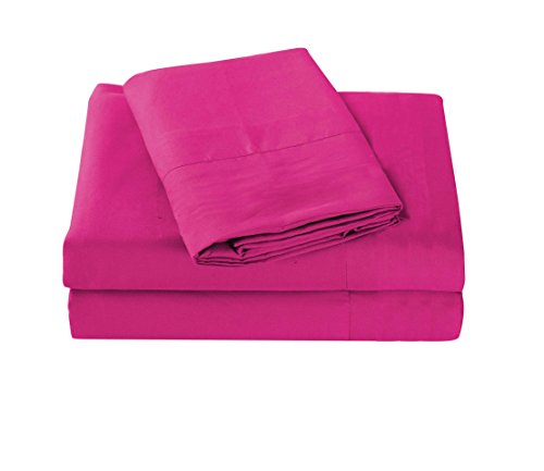 All American Collection New 3 Piece Cozy and Soft Microfiber Solid Sheet Set (Twin Size, Hot Pink)