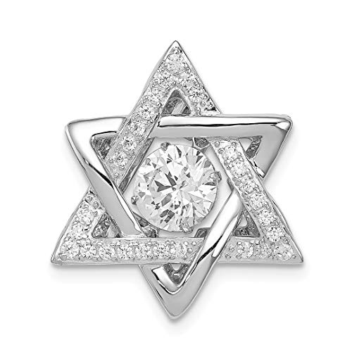 Platinum Plated Vibrant Cubic Zirconia Cz Jewish Jewelry Star Of David Pendant Charm Necklace Religious Judaica Fine Jewelry For Women Gift Set ()