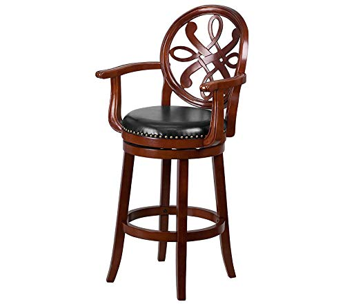 (Office Home Furniture Premium 30'' High Cherry Wood Barstool with Arms and Black Leather Swivel Seat)
