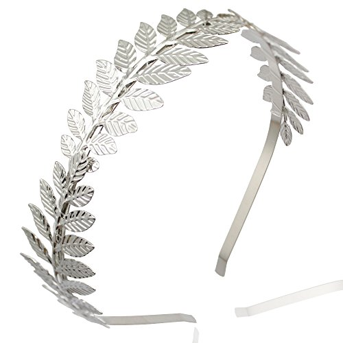Silver Plated Q&Q Fashion Roman Goddess Leaf Branch Dainty Bridal (Roman Silver Bands)