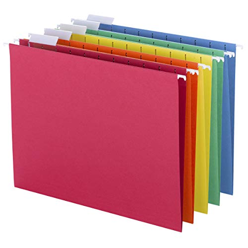 Smead Colored Hanging File Folder with Tab, 1/5-Cut Adjustable Tab, Letter Size, Assorted Primary Colors, 25 Per Box (64059) (Colors That Start With The Letter F)