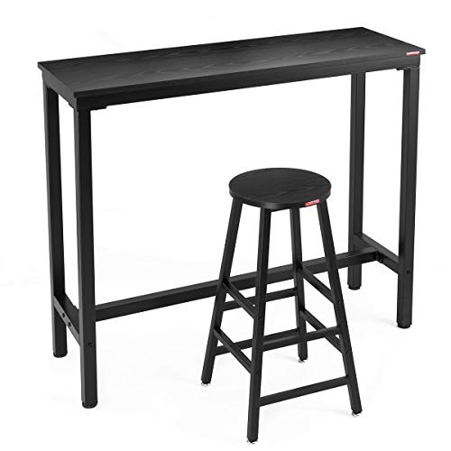 "Mr IRONSTONE 2-Piece Bar Table Set, 47 ""Pub Dining Height Table Bistro Table with 1 Bar Stools Wood Grain (47.2'' Bar Table(Black))"