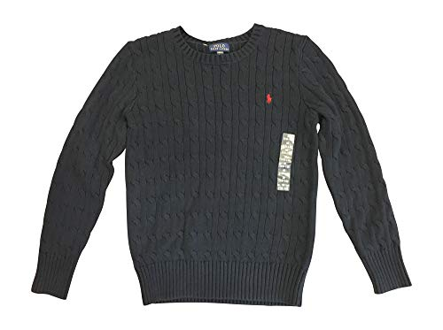 Polo Ralph Lauren Boys Cable Knit Pullover Sweater (Navy Blue, M (10-12)) (Ralph Lauren Cable Sweater)