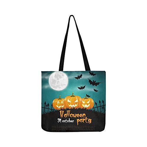 Happy Halloween Poster Canvas Tote Handbag Shoulder Bag Crossbody Bags Purses For Men And Women Shopping Tote