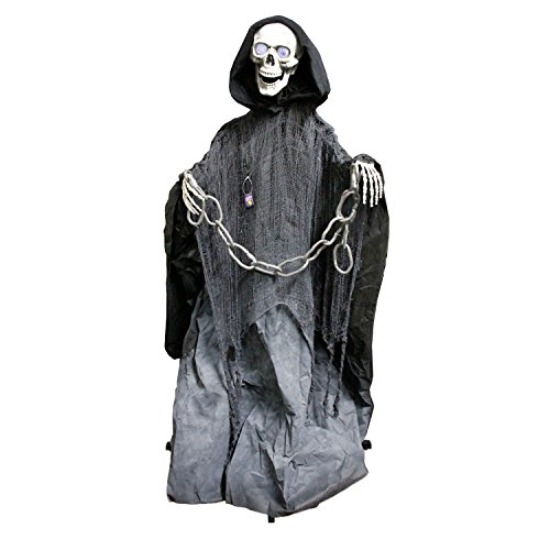 Halloween Haunters 60″ Animated and Light Up Lifesize Standing Death Reaper with Chains Prop Decoration