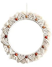 Hanging Wall Mirror with Macrame Fringe Round Boho Mirror Art Decor for Apartment Living Room Bedroom Baby Nursery, Woven Wall Mirror Stylish Wall-Mounted Decoration(Not including mirror)