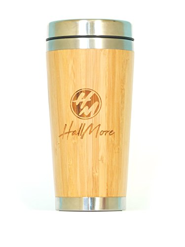 Premium Bamboo Travel Mug for Men with Stainless Steel Interior, Double wall and Quick Seal Lid | Car Mug for Coffee & Tea, Hot and Cold Beverages | Perfect Gift For Men Women, 16 oz. By HallMore