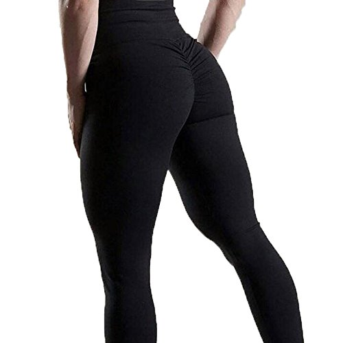 FITTOO Women's High Waisted Bottom Scrunch Leggings Ruched Yoga Pants Push up Butt Lift Stretchy Trousers Workout Black M by FITTOO