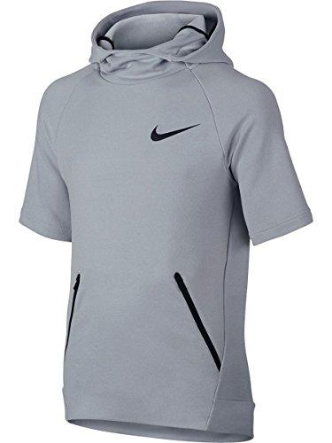 Nike Boys Dri-FIT Hyper Fleece Hoodie (Wolf Grey/Black, Medium)