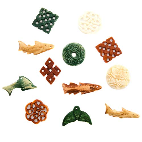 Bone Pendants for Jewelry Making for Adults - Carved Ox Bone Pendant Sets for Necklaces - Assorted Designs, Colors, Shapes and Sizes - Celtic, Tribal and Marine Themes