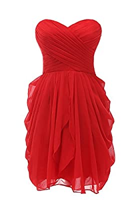 Women's Bridesmaid Dresses Short Strapless Chiffon Sweetheart Prom Gowns
