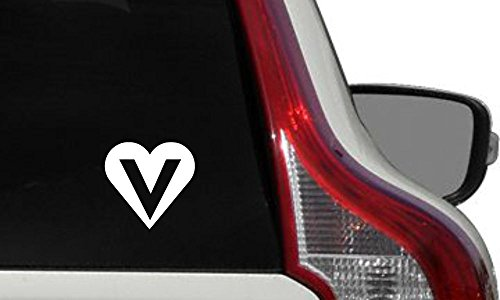 Vegan Heart Inside V Car Vinyl Sticker Decal Bumper Sticker for Auto Cars Trucks Windshield Custom Walls Windows Ipad Macbook Laptop Home and More (White)