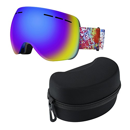 HILLPOW Ski Goggles with Detachable Anti-Fog Lens, Motorcycle Snowmobile Snowboard Skate Eyewear Windproof UV Protective Safety Glasses with Carrying Hard Case Box (Blue, TS-005)