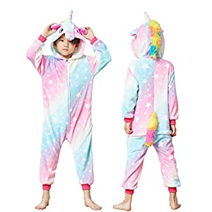 Lovely Kids Unicorn Onesie Pajamas Girls Animal Costume Chlidren Halloween Cosplay 2