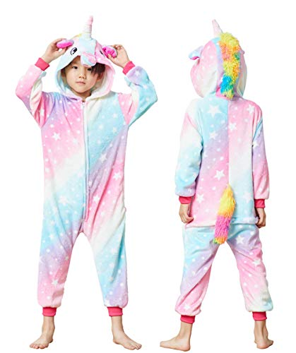 Unisex Kids Unicorn Onesie Animal Costume Children One-Piece Cosplay Pajamas(Galaxy Starry,10-12 Years)