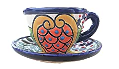"""Authentic Mexican Espresso Cup and Saucer with floral design Size: 2 oz cup with a 4"""" wide plate"""