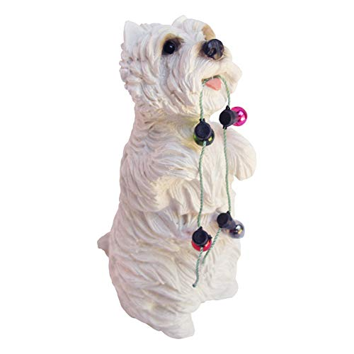 Sandicast West Highland White Terrier with Holiday Lights Christmas Ornament (Westie Ornaments)