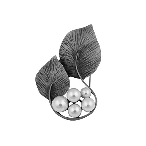 Farlena Red/Grey Simulated Pearl Plants Brooches For Elegant Women Antique Silver Plated Brooch Vintage Big Corsage,Light Yellow Gold Color