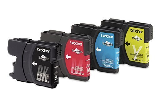 Genuine Brother LC65 (LC-65) High Yield Color (BK/C/M/Y) Ink Cartridge (LC65HYBK, LC65HYC, LC65HYM, LC65HYY) 4-Pack for Brother MFC-5490CN, MFC-5890CN, MFC-5895CW, MFC-6490CW, MFC-6890CDW