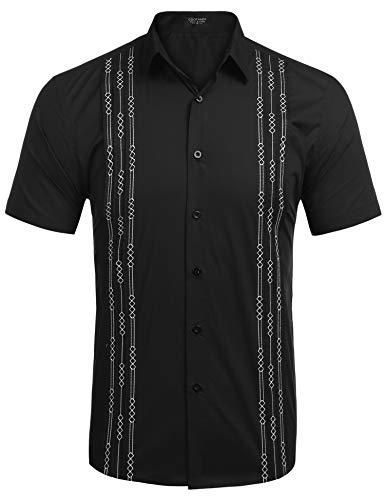 COOFANDY Mens Short Sleeve Guayabera Cuban Shirt Wedding Party Beach Dress Shirt (XX-Large, -