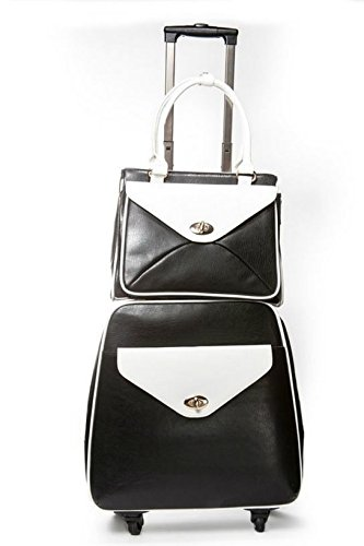 Retro Double Set Black White Trolley & Tote (LG62) by Hang Accessories