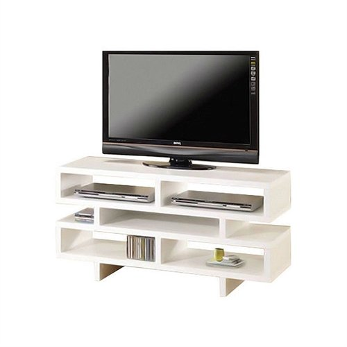 Svitlife Modern Style Living Room TV Stand in White Wood Finish Entertainment Center Tv Stand And Shelves Modern Media Console (Expandable Center Console Entertainment)