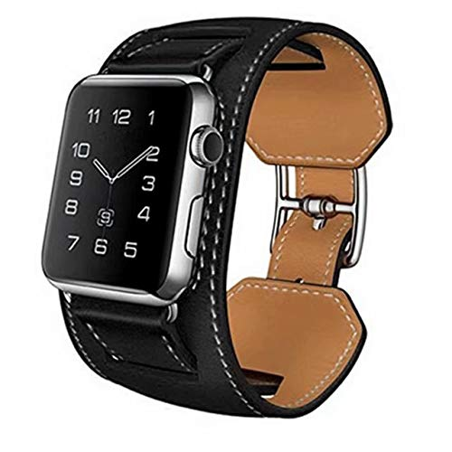 (Cuff Bracelet Leather Watch Band Strap Replacement Wristband Compatible with 40mm Apple Watch Series 4, 38mm Apple Watch Series 3/2/1 (Black))