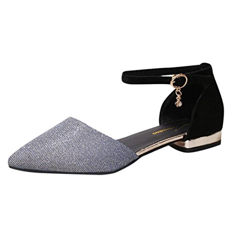 HLHN Women Sandals, Pointed Toe Ankle Buckle Strap Low Flat Heel Shoes Casual Fashion Elegant Ladies Blue
