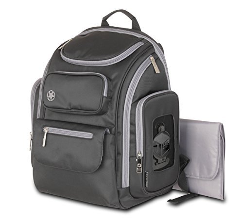 Easy Access Back Pocket - Jeep Perfect Pockets Baby Diaper Bag Backpack - Small Bag with 12 Roomy Pockets for the Ultimate Organizer - Includes Wipe Holder and Wipeable Changing Pad - Black and Grey