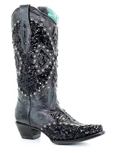 CORRAL Ladies Black Cowhide Bling Inlay Embroidered Boots A3498 (8, Black)