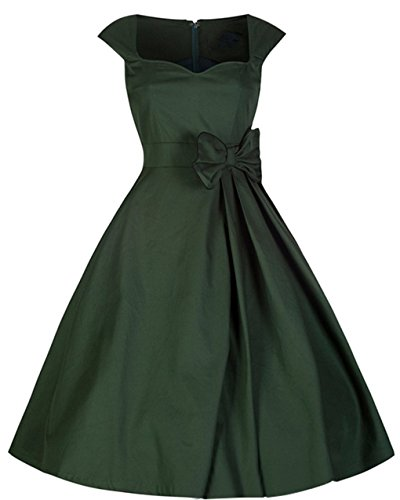 Padgene Vestidos para Mujer Vintage Elegantes Sin Manga Mujer Noche Fiesta Verde