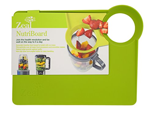 Zeal Food Prep Cutting Board – Accurate and Mess-Free Food Transfer with Raised Edges and Non Slip Base – Green Review