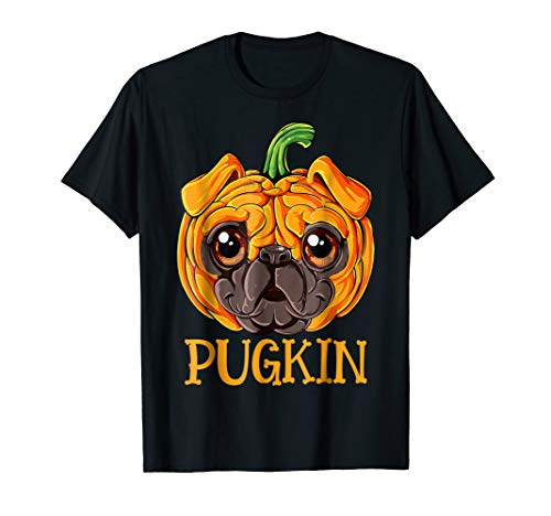 Pugkin Pug Pumpkin T shirt Halloween Kids Funny Dog Costume