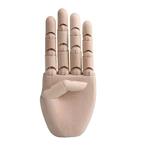 RDEXP 7.7 Inch Flexible Wooden Model Articulated Mannequin Fingers Manikin Men Women Wooden Left Hand for Painting by RDEXP